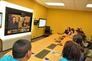 "Puerto Rico students connect with other high schools using ""AT&T Telepresence Solution,"" AT&T's advanced, high definition videoconferencing service."