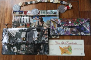 Bags made by women participating in the Casa la Providencia program out of from magazine clippings and recycled materials. Eco donates 100 percent of the sale of the purses to the home.