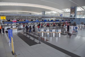 Delta's Terminal A has a large check-in area for regular and business class customers.