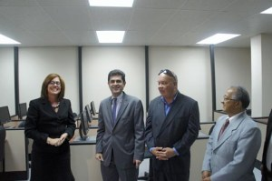 From left: Eastern Region Business Development Center Director Hilda Ivette Santiago, Puerto Rico Trade Executive Director Francisco Chevere, Fajardo Mayor Anibal Meléndez, and Ángel Iglesias, president of the Fajardo Retailers Association.