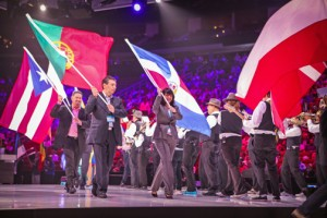 Ángel L. Pérez, vice president of Rock Solid, carries the Puerto Rican flag during the parade of flags at the Microsoft Worldwide Partner Conference held in Houston, Texas earlier this month.