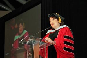 National University College President Gloria Baquero.