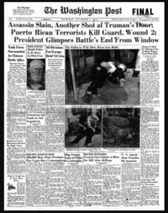 A 1950's Washington Post front page, with the Nationalist attack on Congress as centerpiece news story. (Credit: WP News Archive)