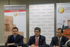 From left: New York State Rep. and Somos el Futuro Inc. President Félix W. Ortiz, Francisco Chévere, executive director of Puerto Rico Trade and Export, and Andrés Rivera, executive director of Somos el Futuro Inc., during a news conference Wednesday.