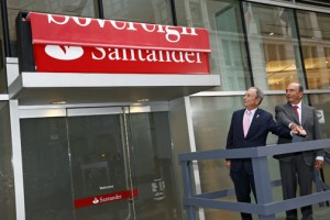 From left: New York City Mayor Michael Bloomberg and Santander Group Chairman Emilio Botín unveil the first of 718 retail bank branches in the U.S. to adopt the Santander brand in Herald Square. (Brian Ach / AP Images for Santander)
