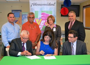 (Seated from the left) VegaCoop Executive President Rubén Morales, SBA District Director Yvette T. Collazo and VegaCoop Chairman José R. Rey-Aulet. In the back: Rafael Fuentes, VegaCoop board director; Pablo Oyola, VegaCoop board director; Nancy Colón, VegaCoop vice president of administration; and Luis Bonilla, VegaCoop vice president of operations.