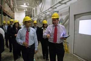 From left: Stryker CEO Kevin A. Lobo and Tony Rodríguez, the company's senior director of advanced operations in Latin America, during a tour of one of the company's two local plants.