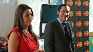 Sofía Macías, Smart Consumer Financial Education Consultant for MasterCard, and Mateo Lleras, director of corporate communications for the GeoCentral region of MasterCard, Latin America and Caribbean.