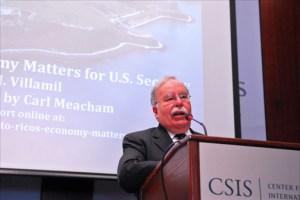 Economist José Villamil, president of Estudios Técnicos Inc., discusses Puerto Rico's economic crisis Jan. 28 at Washington's Center for Strategic & International Studies. (Credit: Larry Luxner)
