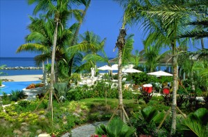 Beautifully landscaped pool area at the Four Seasons Resort, Nevis. (Credit: Larry Luxner)