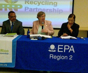 From left: José C. Font, director for the EPA's Caribbean Environmental Protection division, EPA Regional Administrator Judith A. Enck, and Barceloneta Mayor Wanda Soler during Monday's news conference.