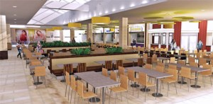 This artist rendering shows how the remodeled food court will look once the project is complete.