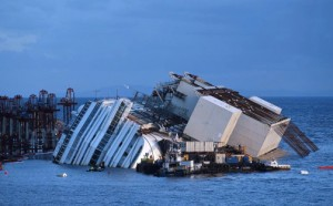 The straightening of the Costa Concordia, grounded for the last 20 months off the coast of Tuscany, began to show July 14 after the complex operation to lift a ship of such size and so close to the coast.