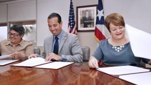 From left: ADSEF Administrator Marta Elsa Fernández, EDB President Joey Cancel-Planas and Family Department Secretary Idalia Colón.