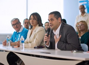 From left: Branch Manager Edwin Arroyo, Sandra Layer, vice president of collections, and Joselo Higuera, platform officer for branches and customer service speak during a news conference Thursday.