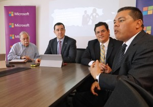 From left: Joaquín Villamil, Marco Casarín, Antonio Medina and an unidentified executive offer details of the study.