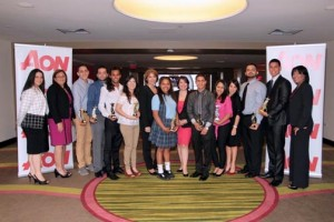 The group of students who received awards from AON to pursue their studies.