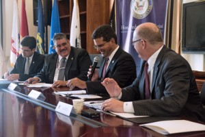 """From left: Puerto Rico Trade and Export Executive Director Francisco Chévere, Marcelino Borges, director of field operations of the Bureau of Customs and Border Protection, Pierluisi, and Paul """"Chip"""" Jaenichen, administrator of the U.S. Maritime Administration during Monday's roundtable."""