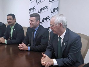 UPR President Uroyoán R. Walker, Matthew Klentzman, Ahkeo's director of research and development, UPR-Mayagüez Chancellor, John Fernández-Van Cleve, during the MOU signing.