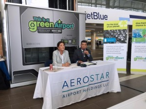 From left: Wendy Neu, CEO of Hugo Neu Corp., and Aerostar CEO Agustín Arellano during a news conference Tuesday.