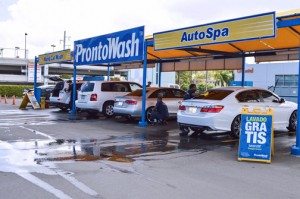 The Pronto Wash concept calls for the customer to leave their car washing while shopping at the mall.