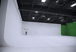 The studio houses a number of different walls — white, black and green — for indoor filming.