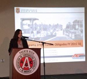 Puerto Rico Highways Authority Executive Director Carmen Villar addresses the AGC-PR.