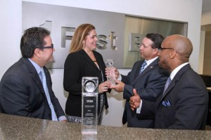 At the Visa Awards ceremony, from left: Iván Marrero, senior vice president of Center of Operations Excellence, and Gloria Martínez, vice president of Banking Operations Fraud Management, both at FirstBank; are joined by Visa Inc.'s Gilberto Viguie and Uhriel Bedoya.