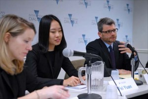 """From left: Margaret Myers of Inter-American Dialogue, and Fei Yuan and Kevin Gallagher of Boston University — co-authors of a new report about """"green financing in the Americas"""" discuss their findings at a Nov. 30 panel discussion in Washington. (Credit: Larry Luxner)"""