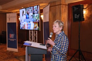 Sally Cowal, senior vice president of the American Cancer Society's Global Cancer Control, keynoted the event sharing with company leaders the global opportunities in joining in the fight.