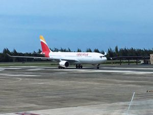 Iberia's A330-200 aircraft, which has been baptized by the name of Puerto Rico, landed at the Luis Muñoz Marín International Airport Sunday.