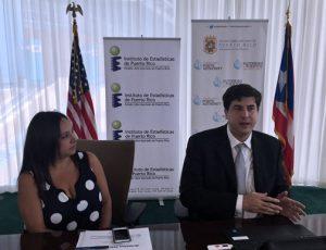 Ports Authority Executive Director Ingrid Colberg-Rodríguez and Statistics Institute Executive Director Mario Marazzi.