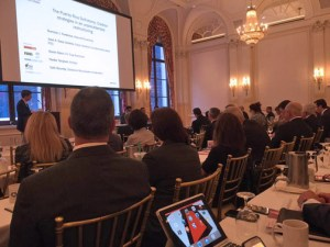 Jose Sosa-Llorens, the legal representative of the credit unions, presents the G25's restructuring proposal in New York this morning.