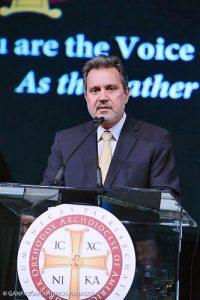 Haris Lalacos, Greece's new ambassador to the United States, addresses a Greek Orthodox church gathering in Nashville on July 7. (Photo courtesy Greek Embassy, Washington.)