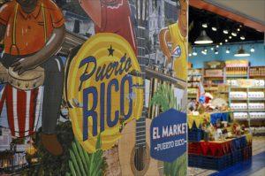 Colorful displays promote local handicrafts at El Market Puerto Rico, a duty-free shop at San Juan's LMM. (Credit: Larry Luxner)