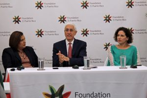 From left: Damaris Ocasio, director of operations Foundation for Puerto Rico; Foundation Chair Jon Borschow; and María Jaunarena, director of partnerships Foundation for Puerto Rico.