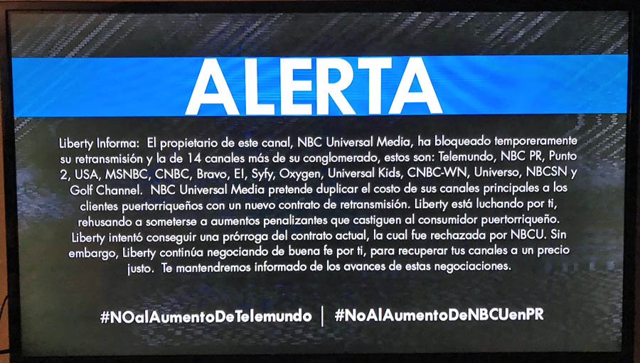 Telemundo, NBC, other NBC channels off air on Liberty's lineup over