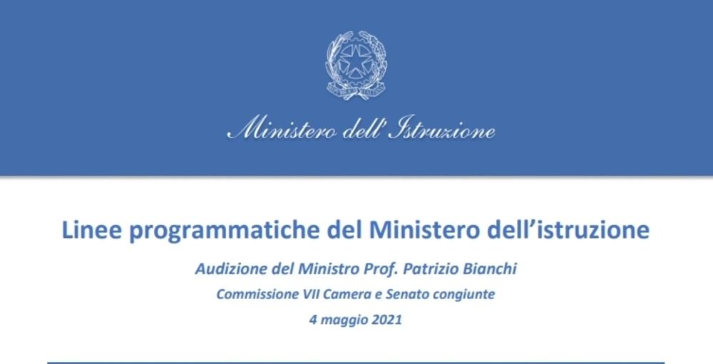 Presentazione linee programmatiche del Ministero dell'Istruzione