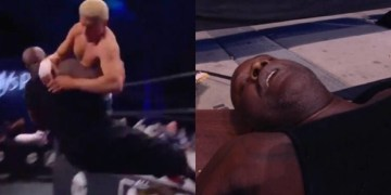 NBA giant Shaquille O'Neal ends up in ambulance after bare knuckle fan is slammed backwards over table on wrestling return (VIDEO)