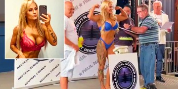 'She's such a tease': 'Blonde Bomber' strips off 'for the boys' as Muslim opponent takes scales to toilet for 2nd weigh-in (VIDEO)