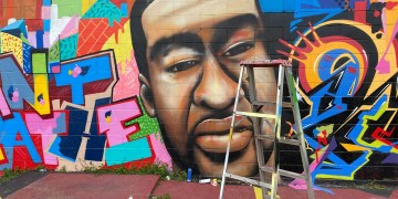 George Floyd mural in downtown Houston vandalized with racial slur