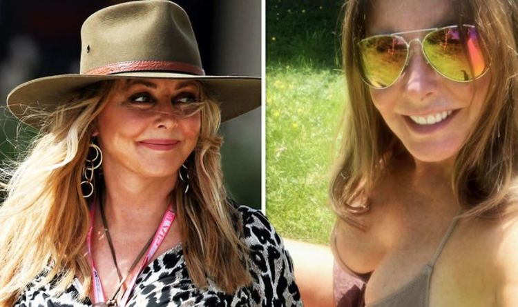Carol Vorderman, 60, puts on busty display as she flaunts her toned bikini body in the sun