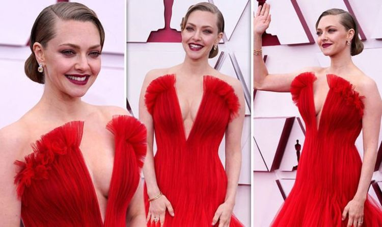 Braless Amanda Seyfried risks wardrobe malfunction in daring V Neck gown at Oscars 2021