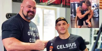 'Why didn't he do that to Khabib?' UFC star Poirier proves size doesn't matter as he grapples giant strongman Brian Shaw (VIDEO)