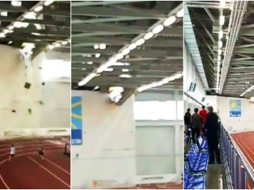 Lucky escape: Kid athletes narrowly outrun disaster as snow blamed for terrifying building collapse during race in Russia (VIDEO)