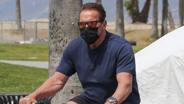 Arnold Schwarzenegger, 73, Looks Buff In Fitted T-Shirt While Out For A Solo Bike Ride In Venice Beach