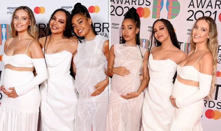 Little Mix's Leigh-Anne and Perrie cradle bumps on first red carpet since Jesy left group