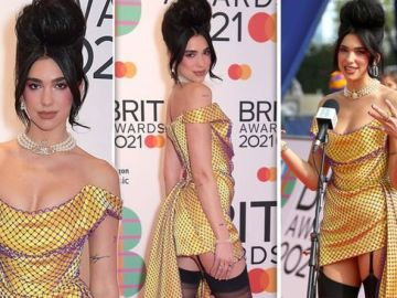 Dua Lipa turns heads in boob-baring dress and SUSPENDERS on Brit Awards 2021 red carpet