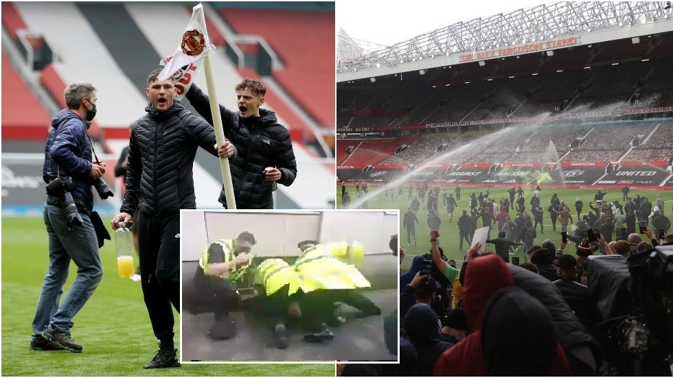 Man United footage shows police officer punching protester
