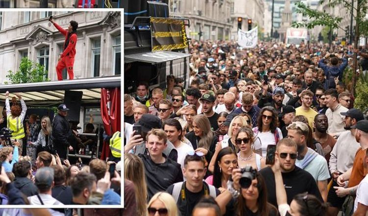 Regent Street shut down by ravers as thousands flood central London in protest